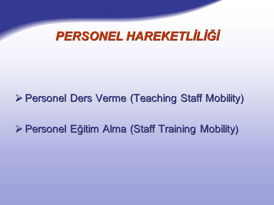 PERSONEL HAREKETLİLİĞİ  Personel Ders Verme (Teaching Staff Mobility)  Personel Eğitim Alma (Staff Training Mobility)  Personel Ders Verme (Teaching Staff Mobility)  Personel Eğitim Alma (Staff Training Mobility)