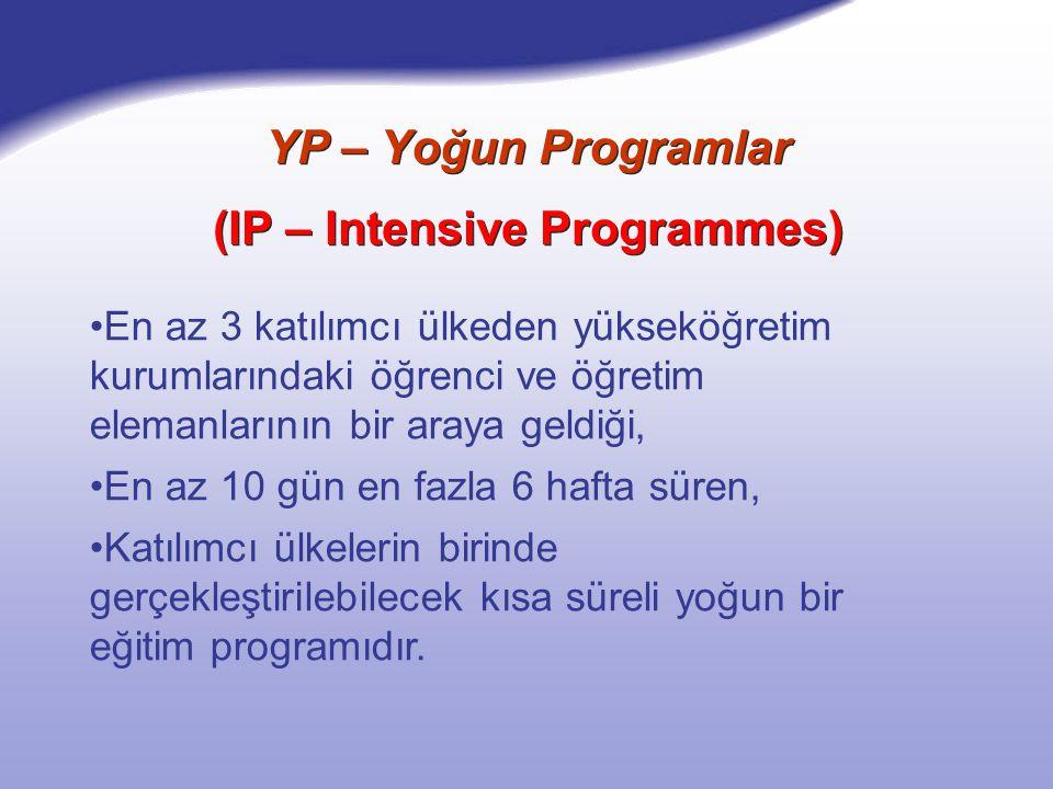 YP – Yoğun Programlar (IP – Intensive Programmes) En az 3 katılımcı ülkeden yükseköğretim kurumlarındaki öğrenci ve öğretim elemanlarının bir araya geldiği, En az 10 gün en fazla 6 hafta süren, Katılımcı ülkelerin birinde gerçekleştirilebilecek kısa süreli yoğun bir eğitim programıdır.