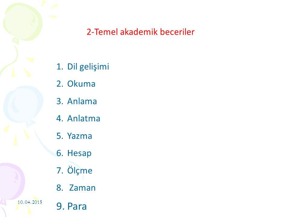 10.04.2015 2-Temel akademik beceriler 1.Dil gelişimi 2.Okuma 3.Anlama 4.Anlatma 5.Yazma 6.Hesap 7.Ölçme 8. Zaman 9.Para