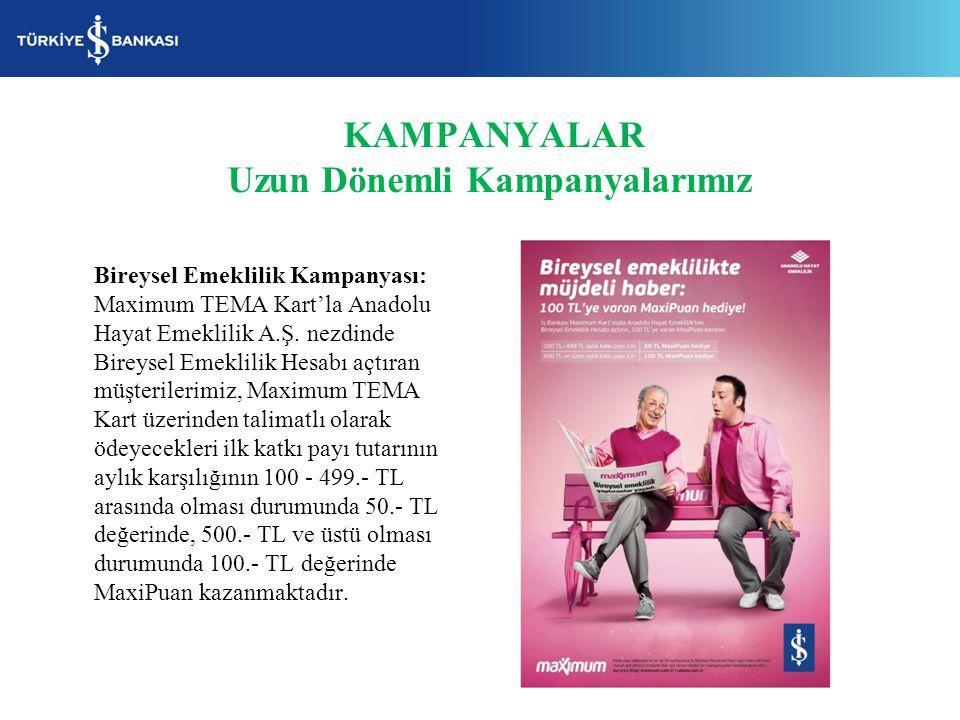 KAMPANYALAR Uzun Dönemli Kampanyalarımız Bireysel Emeklilik Kampanyası: Maximum TEMA Kart'la Anadolu Hayat Emeklilik A.Ş. nezdinde Bireysel Emeklilik