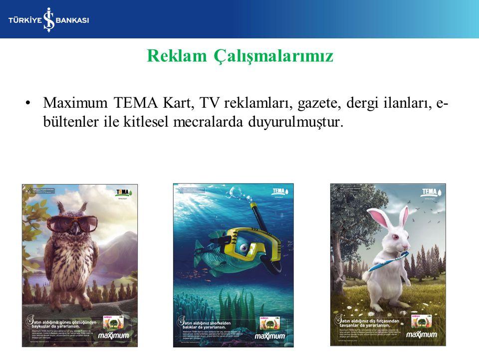 Maximum TEMA Kart, TV reklamları, gazete, dergi ilanları, e- bültenler ile kitlesel mecralarda duyurulmuştur. Reklam Çalışmalarımız
