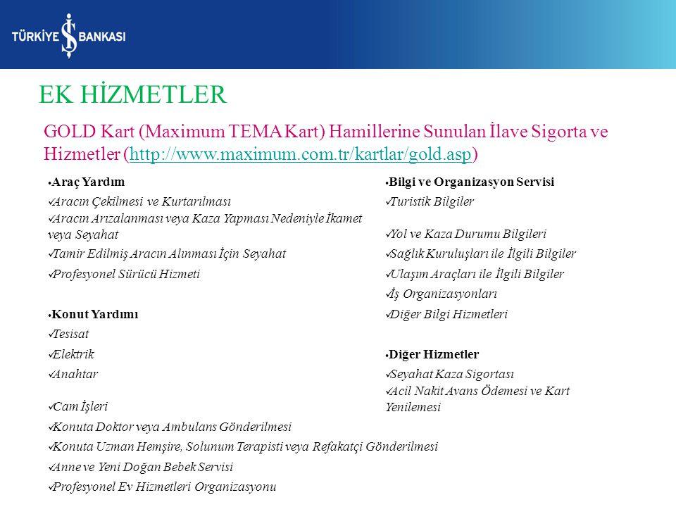 EK HİZMETLER GOLD Kart (Maximum TEMA Kart) Hamillerine Sunulan İlave Sigorta ve Hizmetler (http://www.maximum.com.tr/kartlar/gold.asp)http://www.maxim