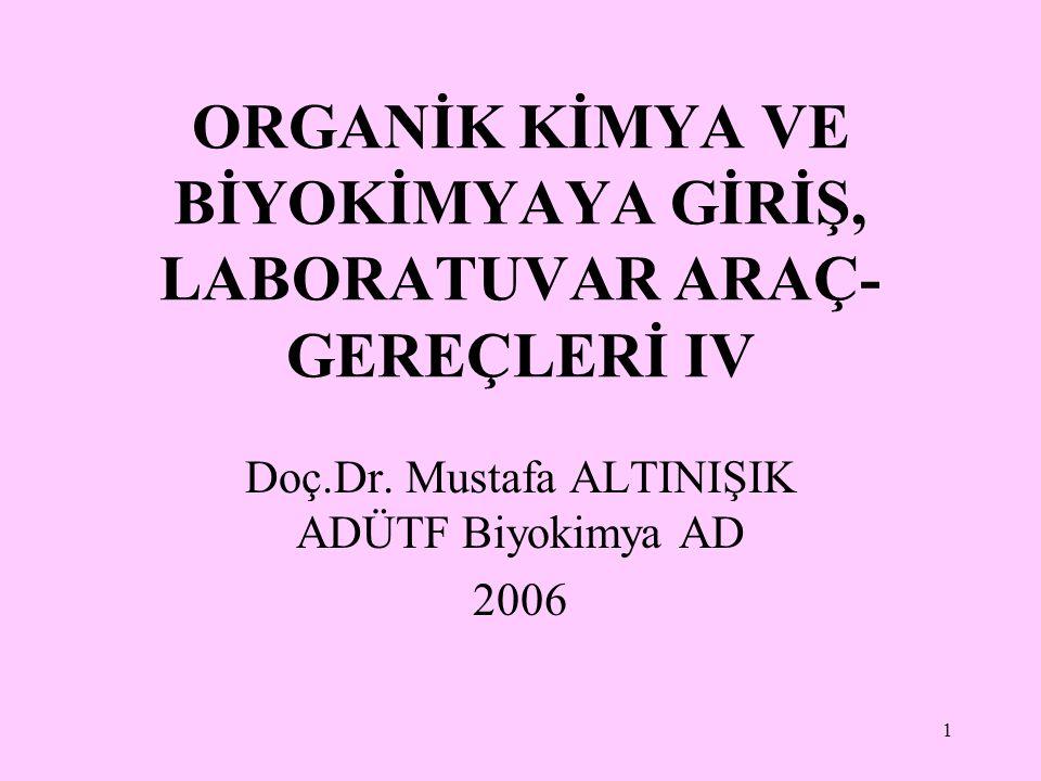 1 ORGANİK KİMYA VE BİYOKİMYAYA GİRİŞ, LABORATUVAR ARAÇ- GEREÇLERİ IV Doç.Dr. Mustafa ALTINIŞIK ADÜTF Biyokimya AD 2006