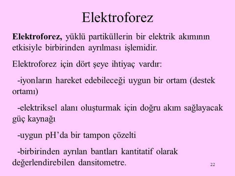 22 Elektroforez Elektroforez, yüklü partiküllerin bir elektrik akımının etkisiyle birbirinden ayrılması işlemidir. Elektroforez için dört şeye ihtiyaç