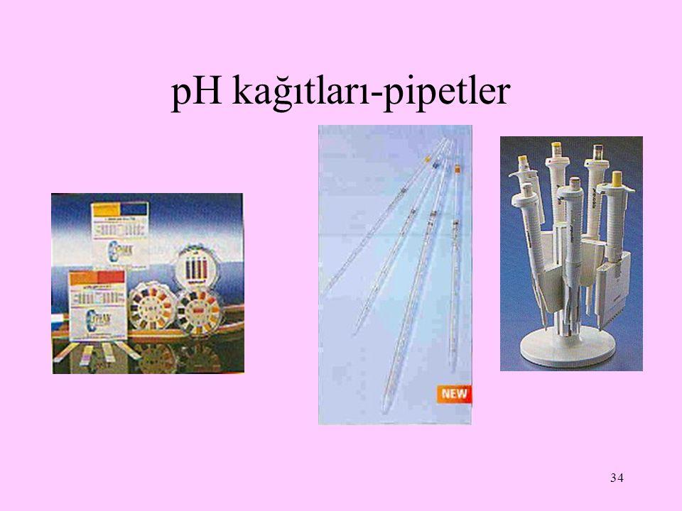 34 pH kağıtları-pipetler