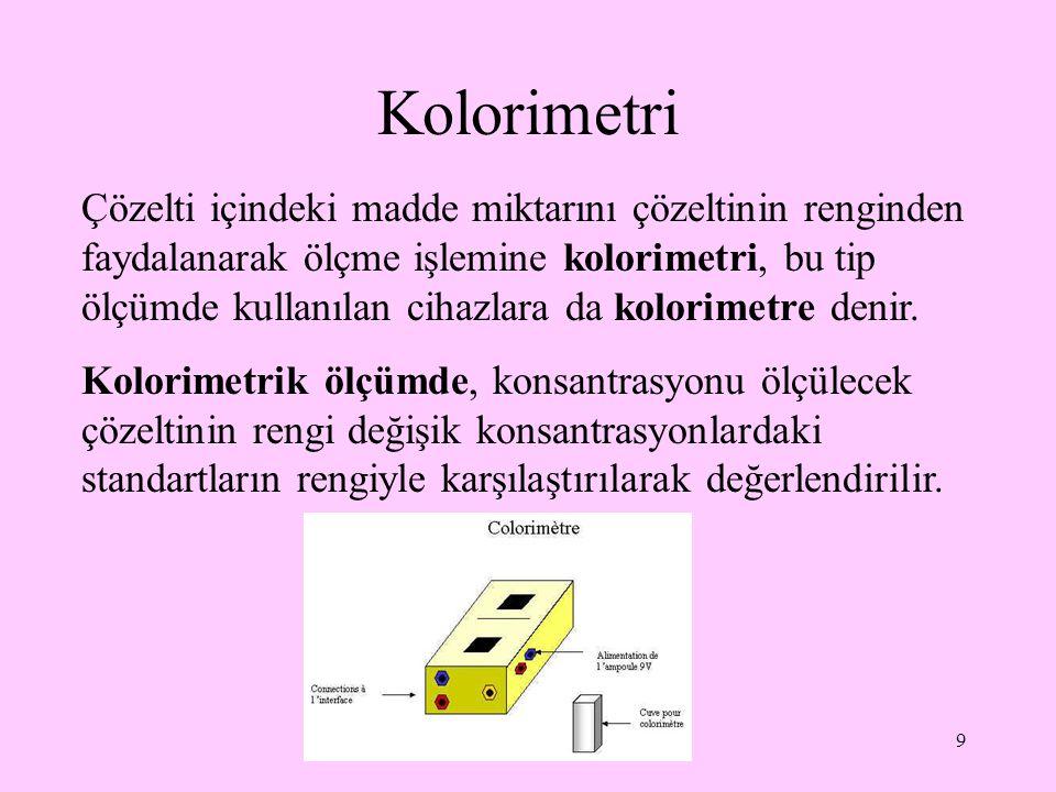 9 Kolorimetri Çözelti içindeki madde miktarını çözeltinin renginden faydalanarak ölçme işlemine kolorimetri, bu tip ölçümde kullanılan cihazlara da ko