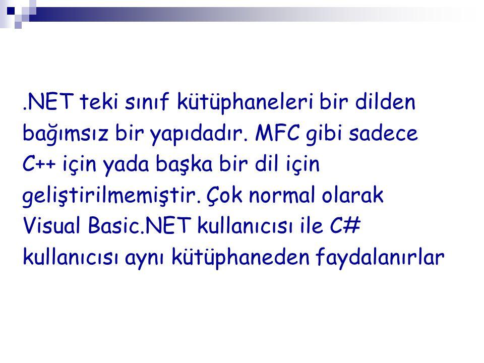 .NET teki sınıf kütüphaneleri bir dilden bağımsız bir yapıdadır. MFC gibi sadece C++ için yada başka bir dil için geliştirilmemiştir. Çok normal olara