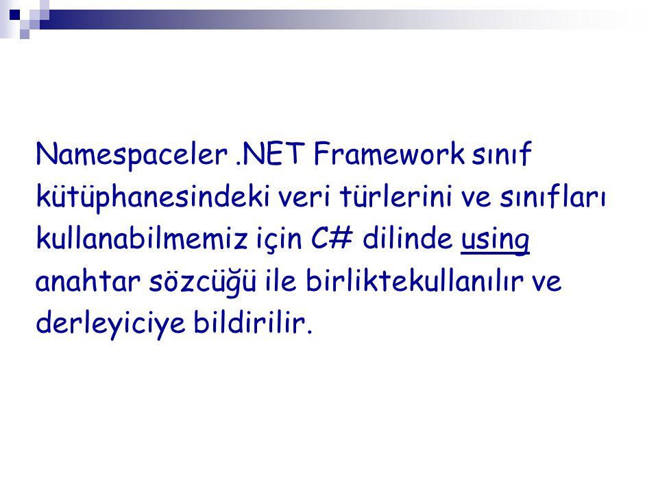 Namespaceler.NET Framework sınıf kütüphanesindeki veri türlerini ve sınıfları kullanabilmemiz için C# dilinde using anahtar sözcüğü ile birliktekullan