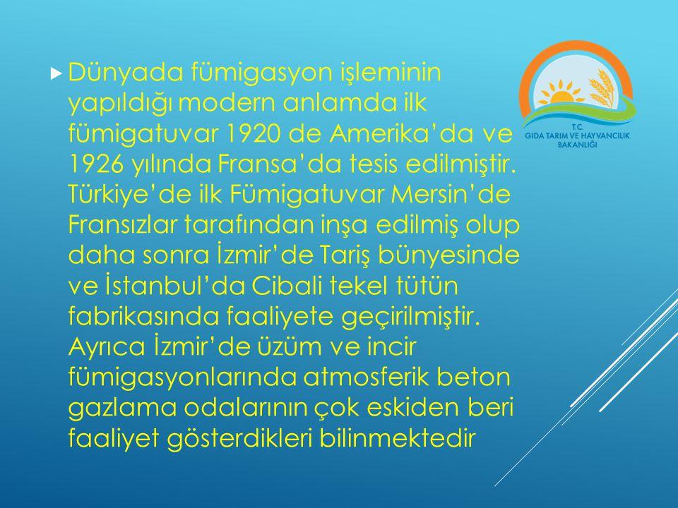  Dünyada fümigasyon işleminin yapıldığı modern anlamda ilk fümigatuvar 1920 de Amerika'da ve 1926 yılında Fransa'da tesis edilmiştir. Türkiye'de ilk