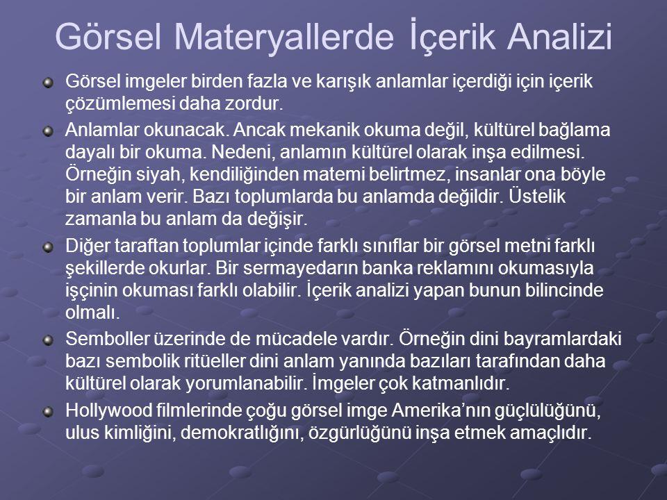 Görsel Materyallerde İçerik Analizi Görsel imgeler birden fazla ve karışık anlamlar içerdiği için içerik çözümlemesi daha zordur. Anlamlar okunacak. A