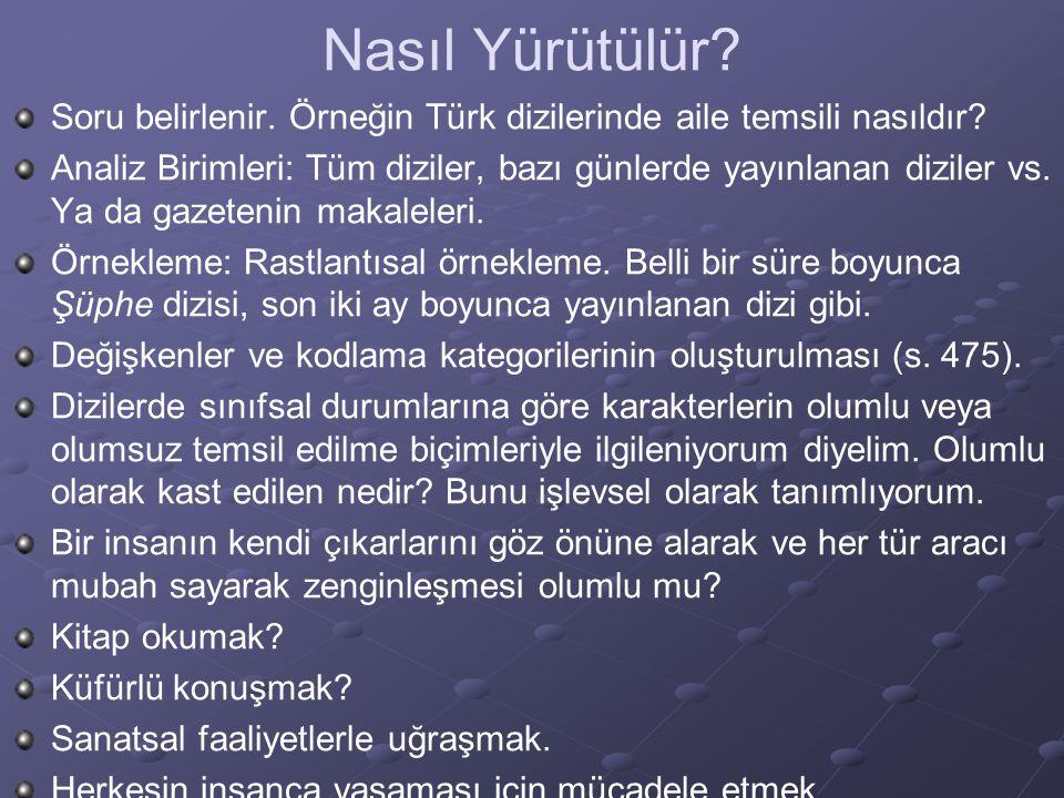 Nasıl Yürütülür? Soru belirlenir. Örneğin Türk dizilerinde aile temsili nasıldır? Analiz Birimleri: Tüm diziler, bazı günlerde yayınlanan diziler vs.