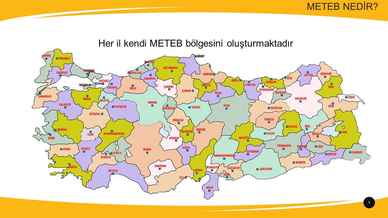 4 Her il kendi METEB bölgesini oluşturmaktadır.