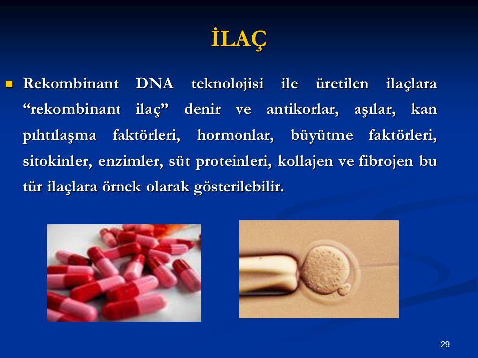 """29 İLAÇ Rekombinant DNA teknolojisi ile üretilen ilaçlara """"rekombinant ilaç"""" denir ve antikorlar, aşılar, kan pıhtılaşma faktörleri, hormonlar, büyütm"""