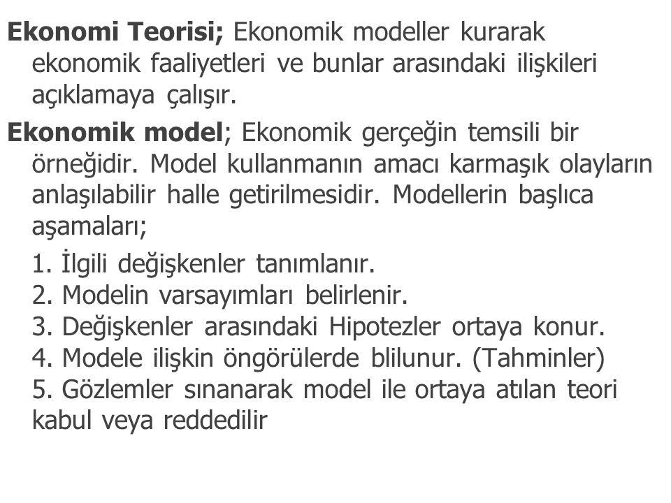 Ekonomi Teorisi; Ekonomik modeller kurarak ekonomik faaliyetleri ve bunlar arasındaki ilişkileri açıklamaya çalışır. Ekonomik model; Ekonomik gerçeğin