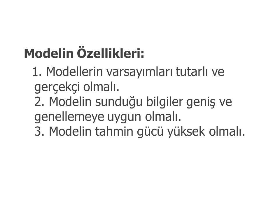 Modelin Özellikleri: 1. Modellerin varsayımları tutarlı ve gerçekçi olmalı. 2. Modelin sunduğu bilgiler geniş ve genellemeye uygun olmalı. 3. Modelin