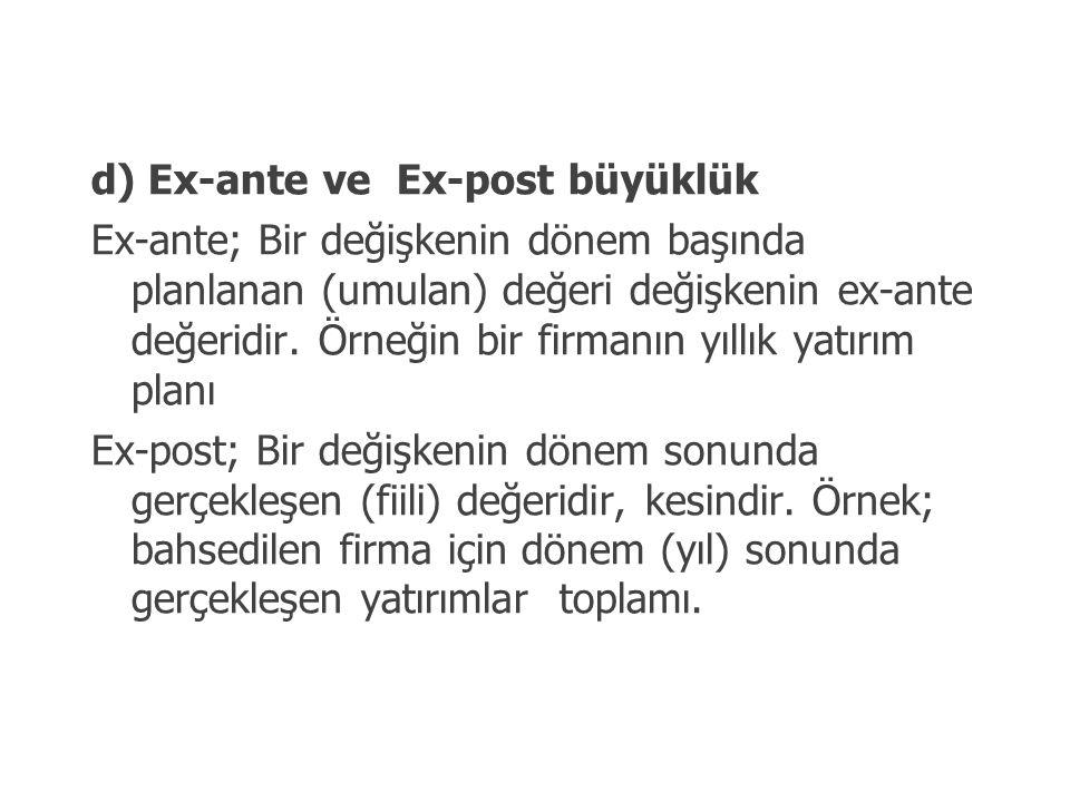 d) Ex-ante ve Ex-post büyüklük Ex-ante; Bir değişkenin dönem başında planlanan (umulan) değeri değişkenin ex-ante değeridir. Örneğin bir firmanın yıl