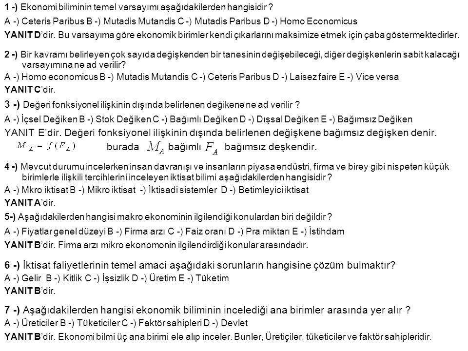1 -) Ekonomi biliminin temel varsayımı aşağıdakilerden hangisidir ? A -) Ceteris Paribus B -) Mutadis Mutandis C -) Mutadis Paribus D -) Homo Economic