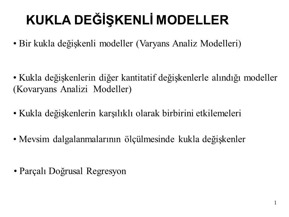 2 Y i =  +  D i +u i Y i = Öğretim Üyelerinin Yıllık Maaşları D i = 1 Öğretim Üyesi Erkekse = 0 Diğer Durumlar (yani Kadın Öğretim Üyesi) Varyans Analiz Modelleri (ANOVA) Kadın Öğretim Üyelerinin Ortalama Maaşları: E( Y i |D i = 0 ) =  Erkek Öğretim Üyelerinin Ortalama Maaşları : E ( Y i |D i = 1) =  +  Bir Kukla Değişkenli Modeller (Varyans Analiz Modelleri)