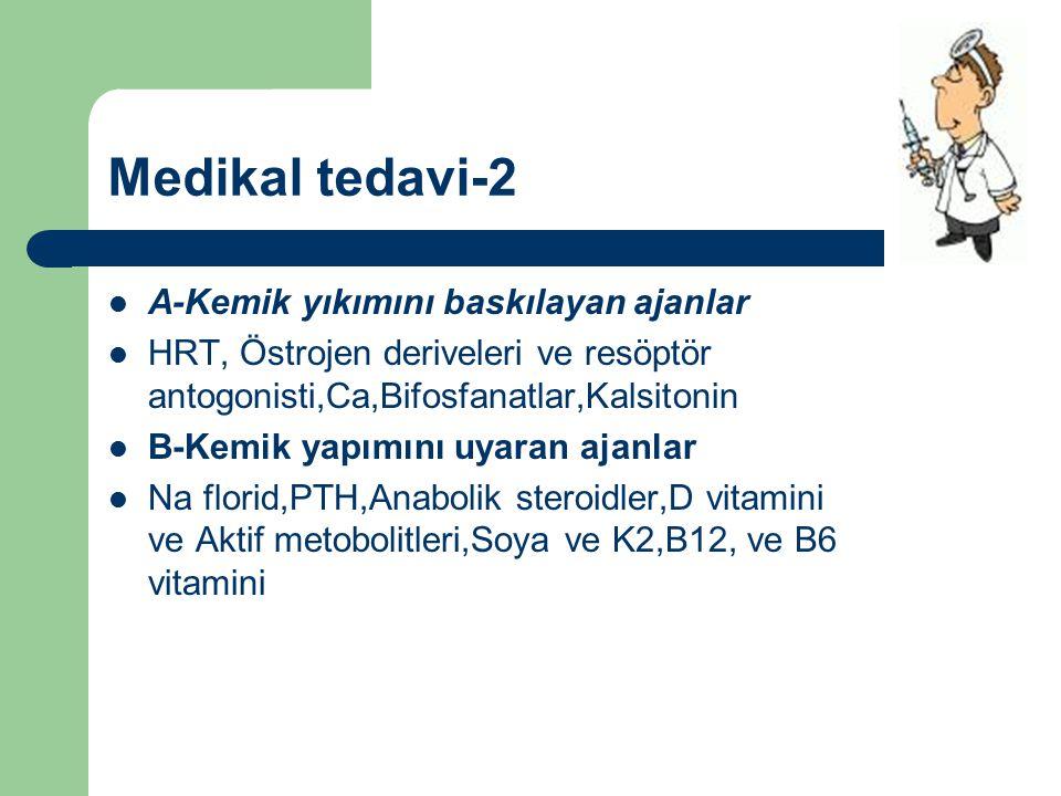 Medikal tedavi-2 A-Kemik yıkımını baskılayan ajanlar HRT, Östrojen deriveleri ve resöptör antogonisti,Ca,Bifosfanatlar,Kalsitonin B-Kemik yapımını uya