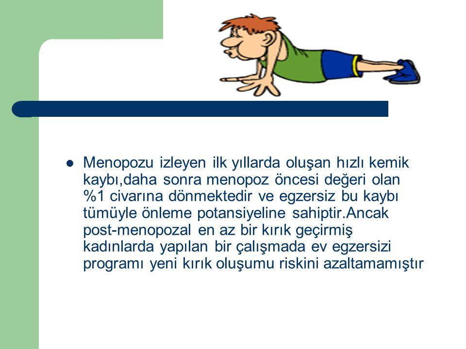 Menopozu izleyen ilk yıllarda oluşan hızlı kemik kaybı,daha sonra menopoz öncesi değeri olan %1 civarına dönmektedir ve egzersiz bu kaybı tümüyle önle