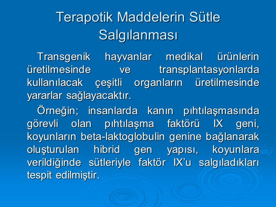 Terapotik Maddelerin Sütle Salgılanması Transgenik hayvanlar medikal ürünlerin üretilmesinde ve transplantasyonlarda kullanılacak çeşitli organların ü