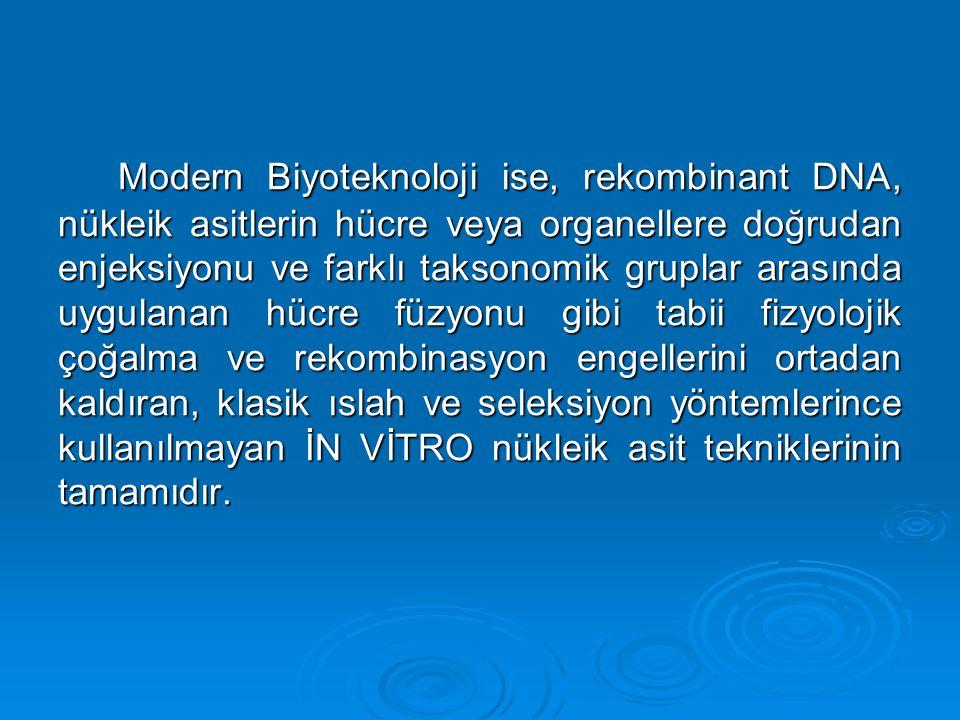 Modern Biyoteknoloji ise, rekombinant DNA, nükleik asitlerin hücre veya organellere doğrudan enjeksiyonu ve farklı taksonomik gruplar arasında uygulan