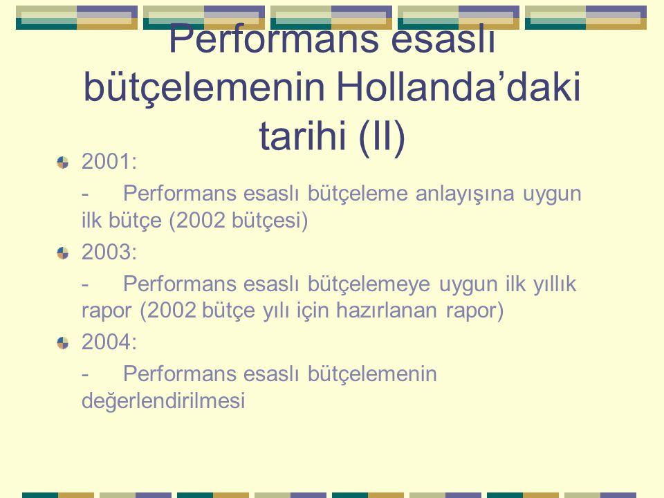 Performans esaslı bütçelemenin Hollanda'daki tarihi (II) 2001: -Performans esaslı bütçeleme anlayışına uygun ilk bütçe (2002 bütçesi) 2003: -Performans esaslı bütçelemeye uygun ilk yıllık rapor (2002 bütçe yılı için hazırlanan rapor) 2004: -Performans esaslı bütçelemenin değerlendirilmesi
