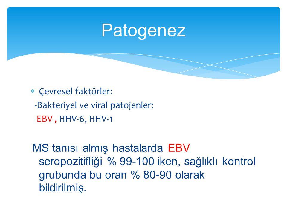  Çevresel faktörler: -Bakteriyel ve viral patojenler: EBV, HHV-6, HHV-1 MS tanısı almış hastalarda EBV seropozitifliği % 99-100 iken, sağlıklı kontro