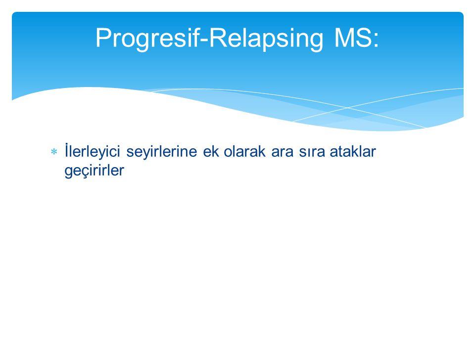  İlerleyici seyirlerine ek olarak ara sıra ataklar geçirirler Progresif-Relapsing MS: