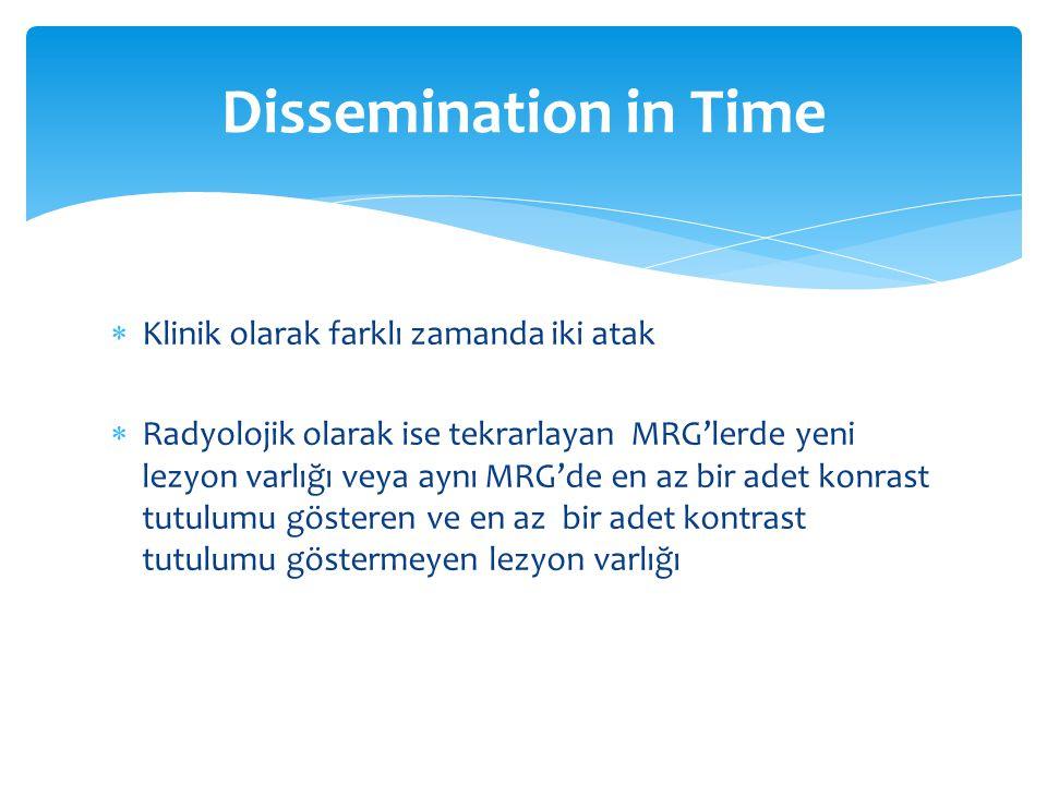  Klinik olarak farklı zamanda iki atak  Radyolojik olarak ise tekrarlayan MRG'lerde yeni lezyon varlığı veya aynı MRG'de en az bir adet konrast tutu