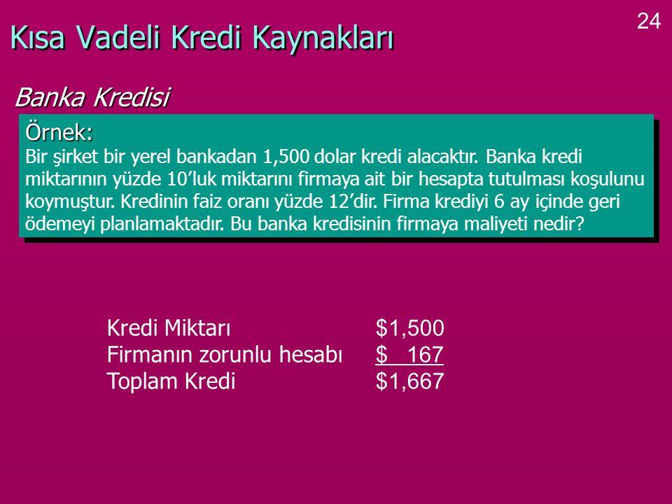 24 Kısa Vadeli Kredi Kaynakları Örnek: Bir şirket bir yerel bankadan 1,500 dolar kredi alacaktır.