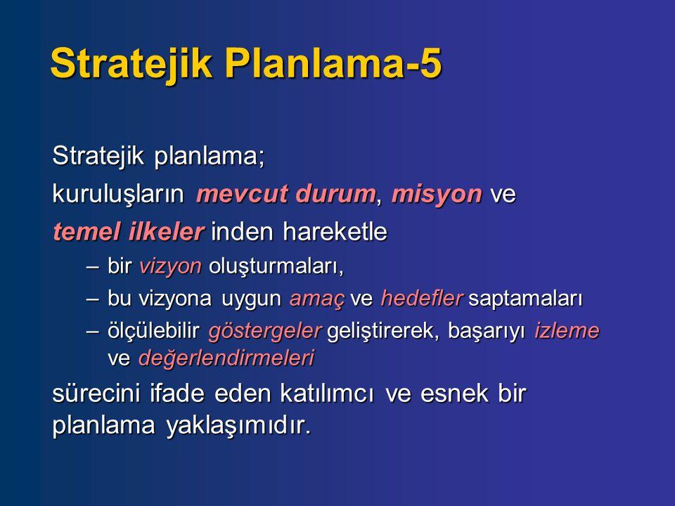 Stratejik Planlama-5 Stratejik planlama; kuruluşların mevcut durum, misyon ve temel ilkeler inden hareketle –bir vizyon oluşturmaları, –bu vizyona uyg