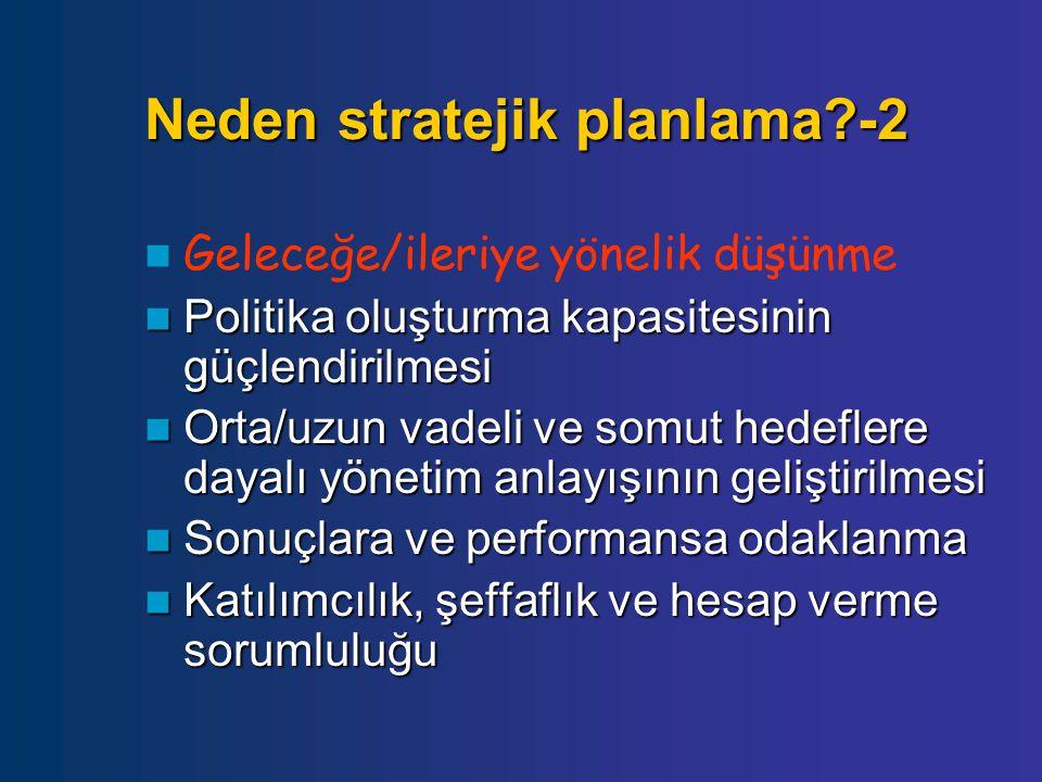 Neden stratejik planlama?-2 Geleceğe/ileriye yönelik düşünme Politika oluşturma kapasitesinin güçlendirilmesi Politika oluşturma kapasitesinin güçlend