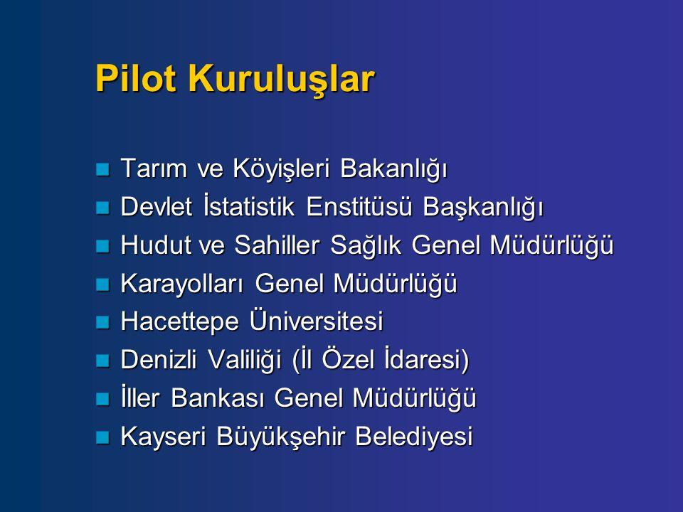 Pilot Kuruluşlar Tarım ve Köyişleri Bakanlığı Tarım ve Köyişleri Bakanlığı Devlet İstatistik Enstitüsü Başkanlığı Devlet İstatistik Enstitüsü Başkanlı