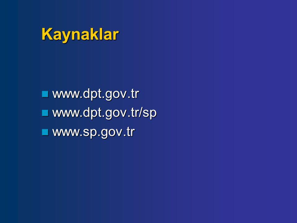 Kaynaklar www.dpt.gov.tr www.dpt.gov.tr www.dpt.gov.tr/sp www.dpt.gov.tr/sp www.sp.gov.tr www.sp.gov.tr