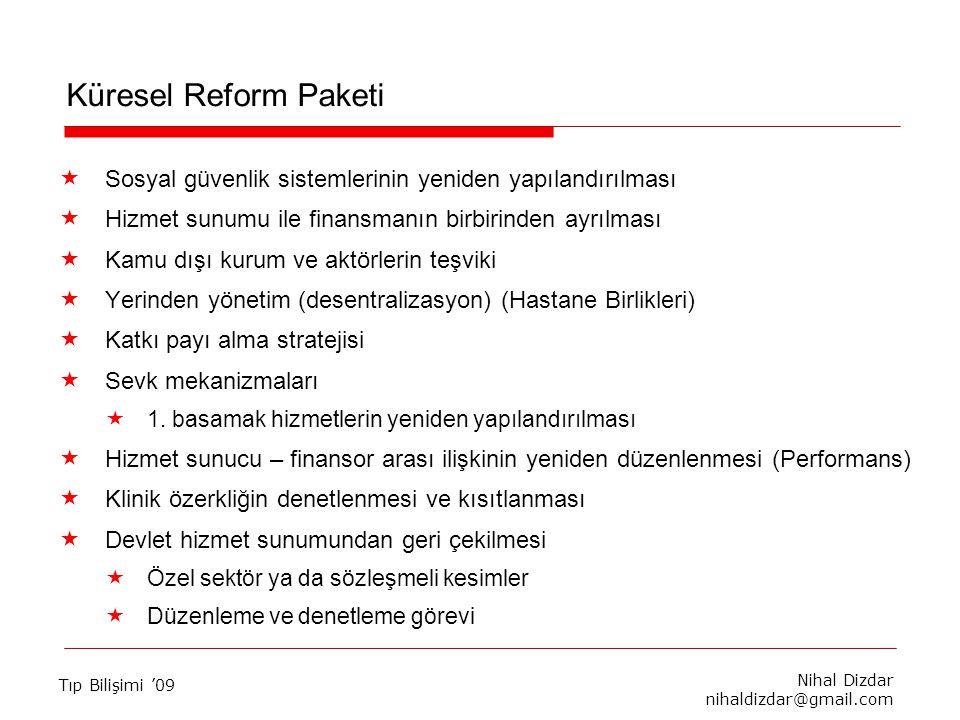 Nihal Dizdar nihaldizdar@gmail.com Tıp Bilişimi '09 Küresel Reform Paketi  Sosyal güvenlik sistemlerinin yeniden yapılandırılması  Hizmet sunumu ile