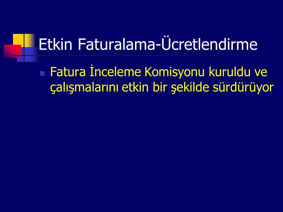 Etkin Faturalama-Ücretlendirme Fatura İnceleme Komisyonu kuruldu ve çalışmalarını etkin bir şekilde sürdürüyor