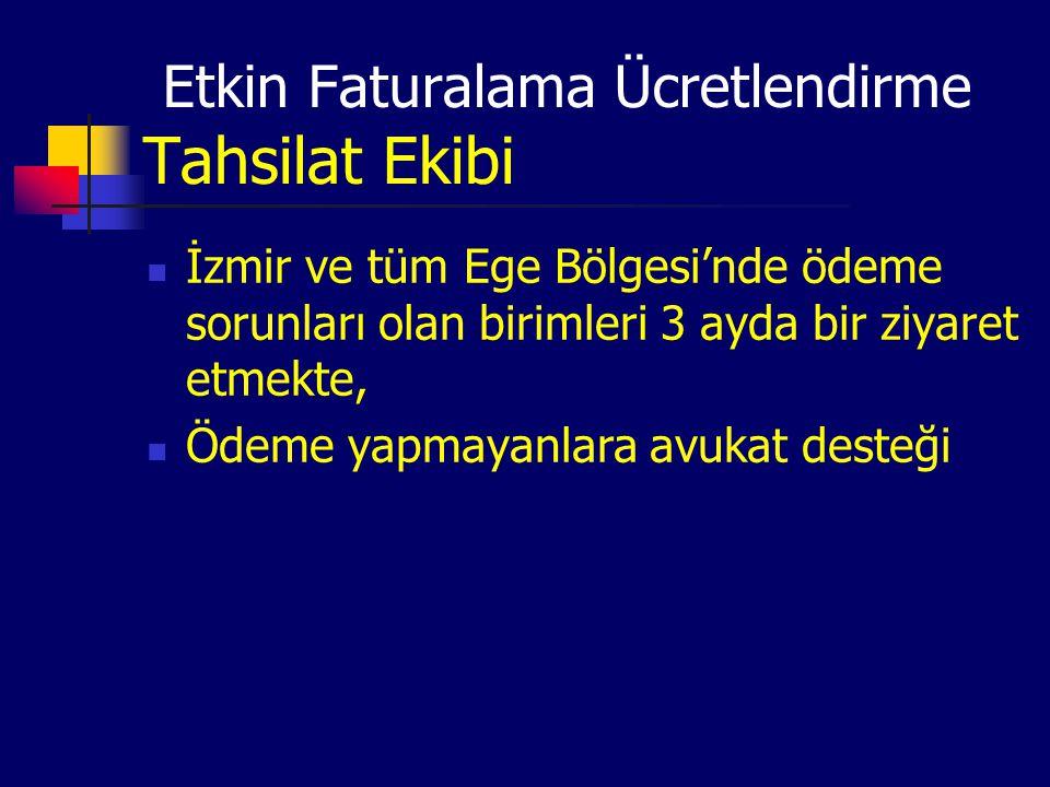 Etkin Faturalama Ücretlendirme Tahsilat Ekibi İzmir ve tüm Ege Bölgesi'nde ödeme sorunları olan birimleri 3 ayda bir ziyaret etmekte, Ödeme yapmayanla