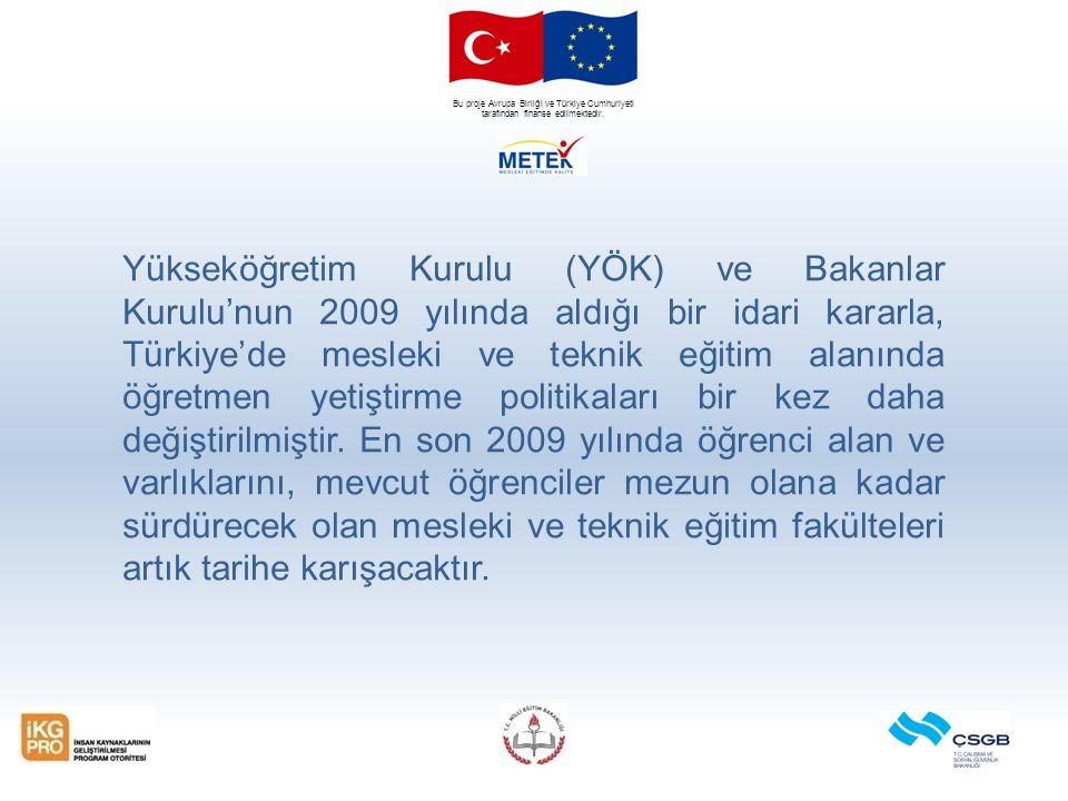 Bu proje Avrupa Birliği ve Türkiye Cumhuriyeti tarafından finanse edilmektedir. Yükseköğretim Kurulu (YÖK) ve Bakanlar Kurulu'nun 2009 yılında aldığı