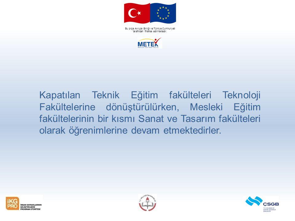 Bu proje Avrupa Birliği ve Türkiye Cumhuriyeti tarafından finanse edilmektedir. Kapatılan Teknik Eğitim fakülteleri Teknoloji Fakültelerine dönüştürül