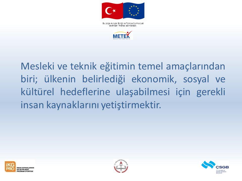 Bu proje Avrupa Birliği ve Türkiye Cumhuriyeti tarafından finanse edilmektedir. Mesleki ve teknik eğitimin temel amaçlarından biri; ülkenin belirlediğ