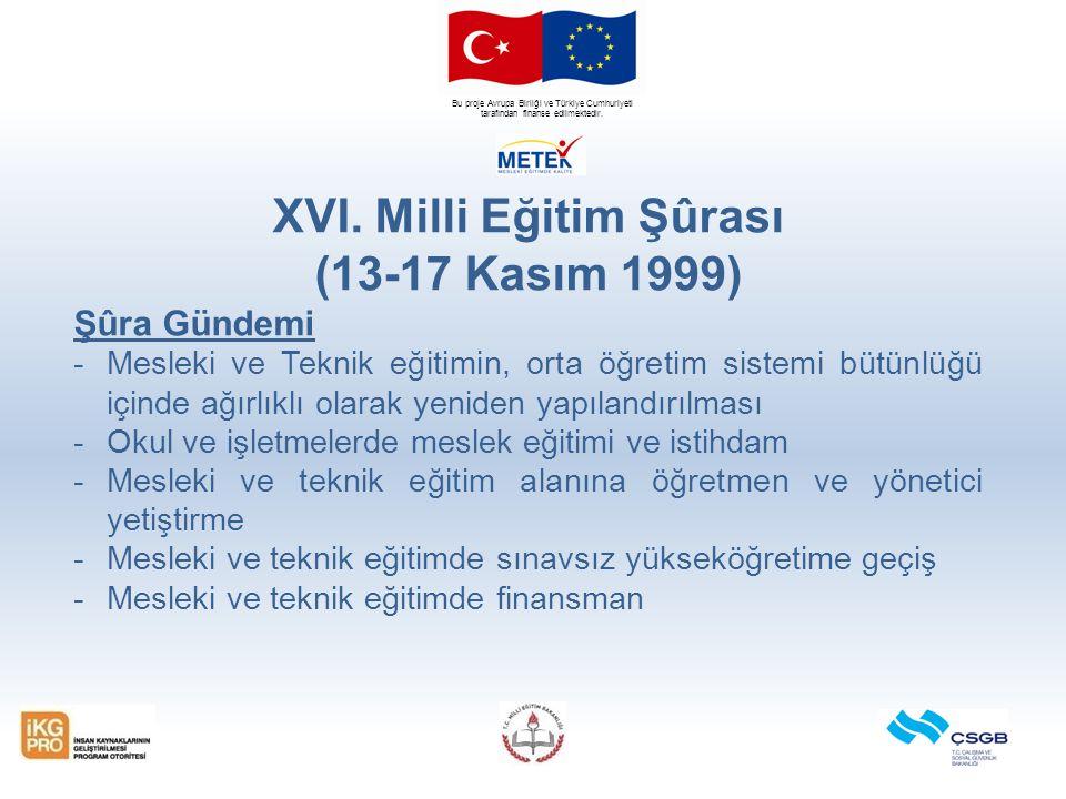 Bu proje Avrupa Birliği ve Türkiye Cumhuriyeti tarafından finanse edilmektedir. XVI. Milli Eğitim Şûrası (13-17 Kasım 1999) Şûra Gündemi -Mesleki ve T