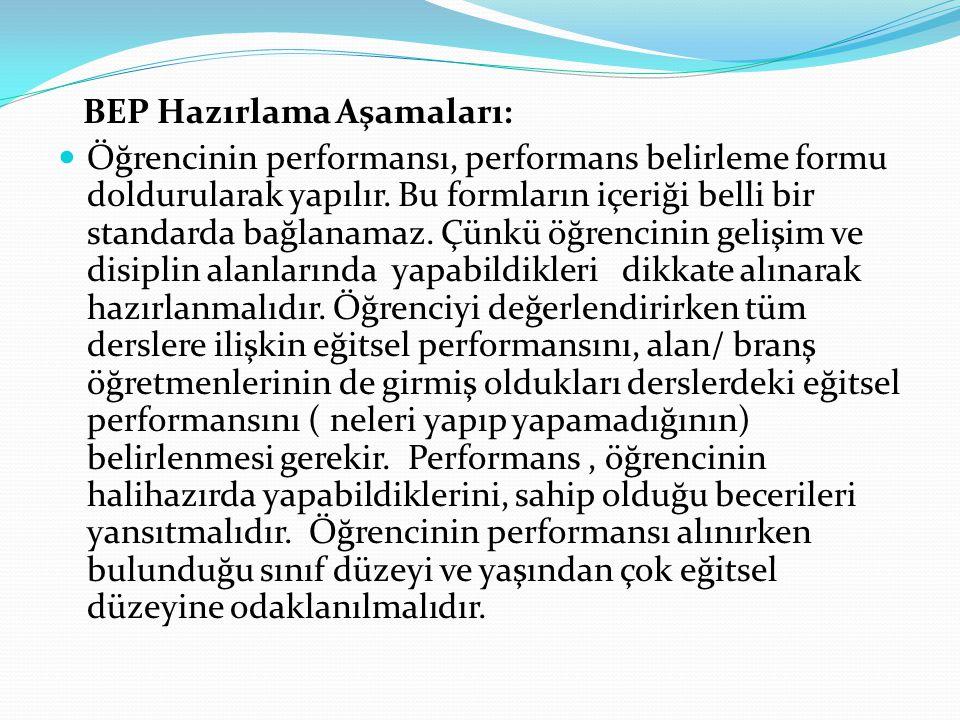BEP Hazırlama Aşamaları: Öğrencinin performansı, performans belirleme formu doldurularak yapılır.