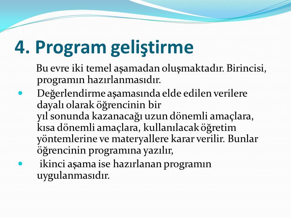 4.Program geliştirme Bu evre iki temel aşamadan oluşmaktadır.