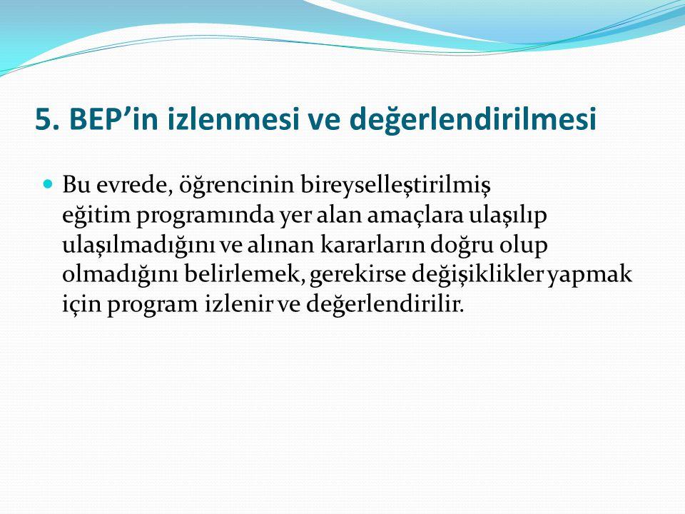 5. BEP'in izlenmesi ve değerlendirilmesi Bu evrede, öğrencinin bireyselleştirilmiş eğitim programında yer alan amaçlara ulaşılıp ulaşılmadığını ve alı