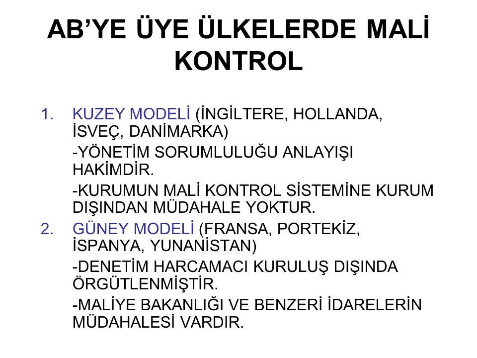 AB'YE ÜYE ÜLKELERDE MALİ KONTROL 1.KUZEY MODELİ (İNGİLTERE, HOLLANDA, İSVEÇ, DANİMARKA) -YÖNETİM SORUMLULUĞU ANLAYIŞI HAKİMDİR.