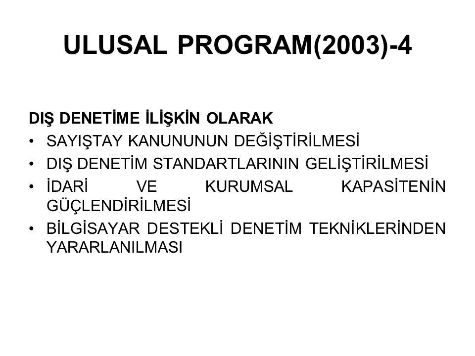 ULUSAL PROGRAM(2003)-4 DIŞ DENETİME İLİŞKİN OLARAK SAYIŞTAY KANUNUNUN DEĞİŞTİRİLMESİ DIŞ DENETİM STANDARTLARININ GELİŞTİRİLMESİ İDARİ VE KURUMSAL KAPA