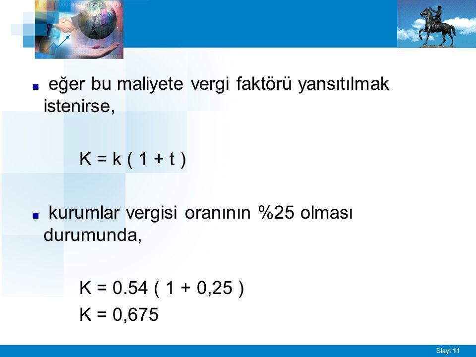 Slayt 11 ■ eğer bu maliyete vergi faktörü yansıtılmak istenirse, K = k ( 1 + t ) ■ kurumlar vergisi oranının %25 olması durumunda, K = 0.54 ( 1 + 0,25 ) K = 0,675