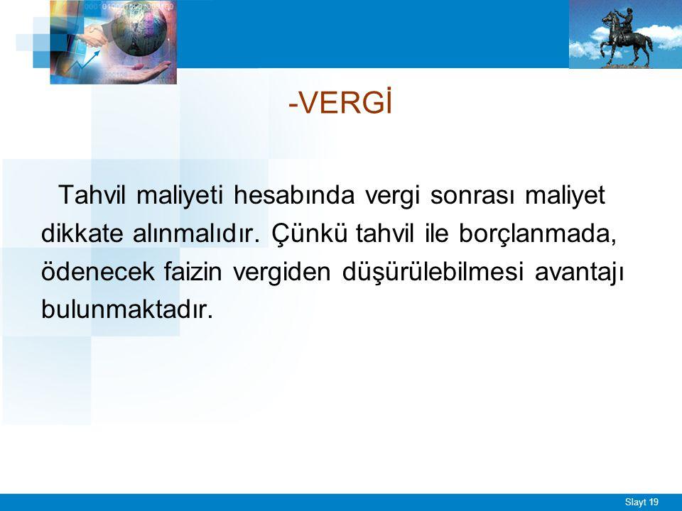Slayt 19 -VERGİ Tahvil maliyeti hesabında vergi sonrası maliyet dikkate alınmalıdır.