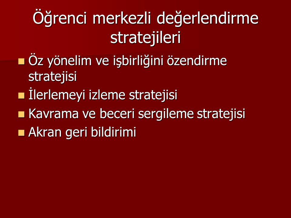 Öğrenci merkezli değerlendirme stratejileri Öz yönelim ve işbirliğini özendirme stratejisi Öz yönelim ve işbirliğini özendirme stratejisi İlerlemeyi izleme stratejisi İlerlemeyi izleme stratejisi Kavrama ve beceri sergileme stratejisi Kavrama ve beceri sergileme stratejisi Akran geri bildirimi Akran geri bildirimi